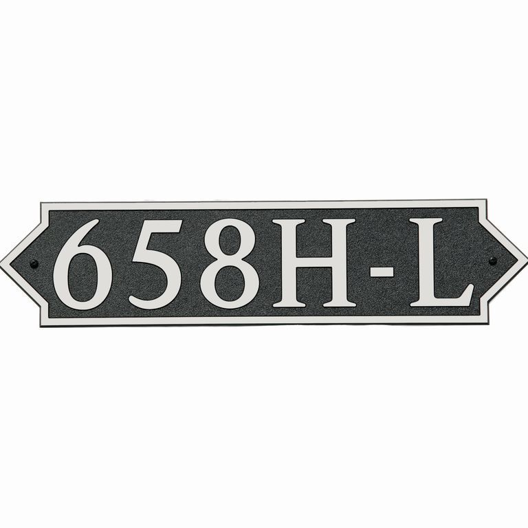 Large Horizontal Wall Mount Address Plaque - Pointed