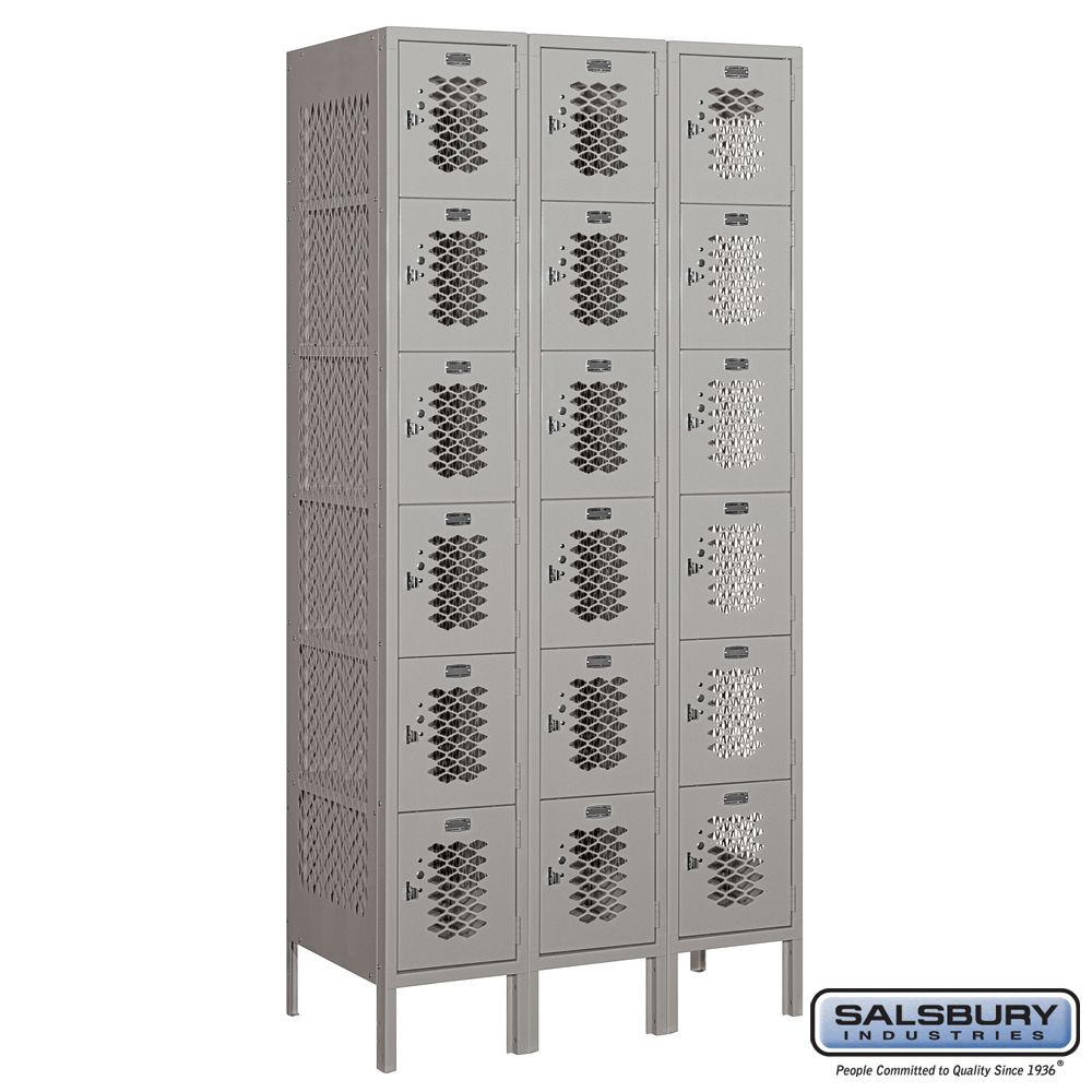 Vented Metal Locker - Six Tier Box Style - 3 Wide - 6 Feet High - 18 Inches Deep - Choose Color