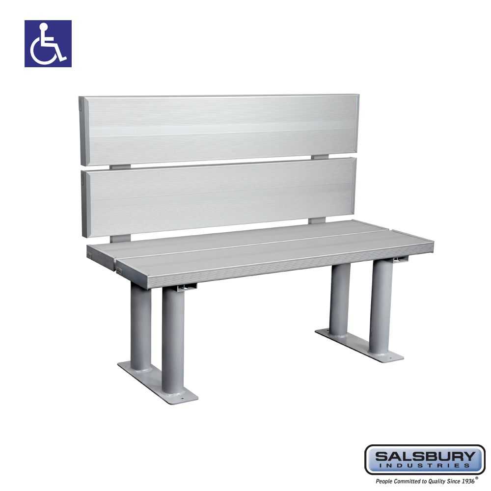 Salsbury Aluminum ADA Locker Bench with back support - 42 Inches Wide