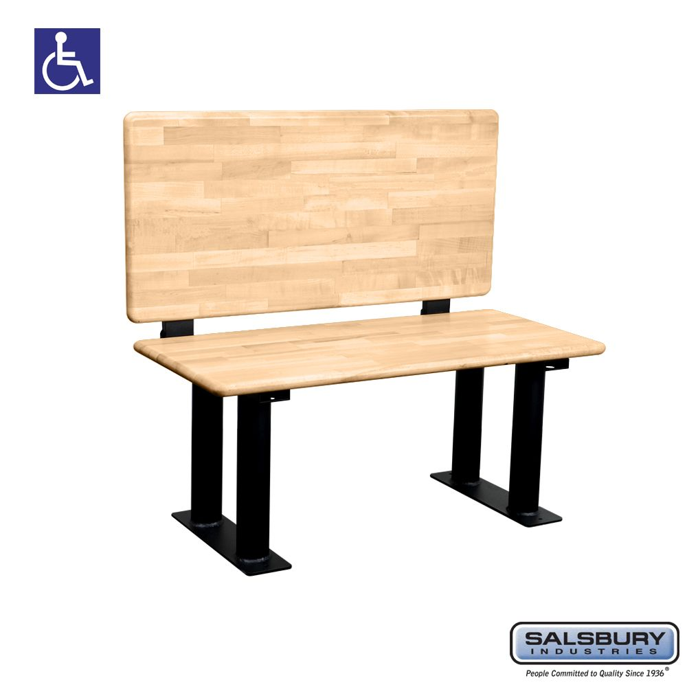 Salsbury Wood ADA Locker Bench with back support- 42 Inches Wide - Choose Color