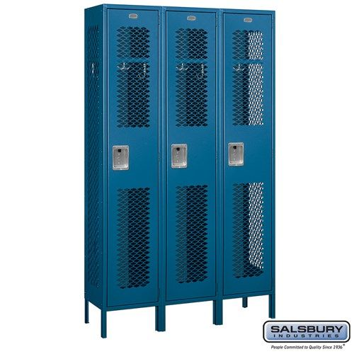 Extra Wide Vented Metal Locker - Single Tier - 3 Wide - 6 Feet High - 15 Inches Deep - Choose Color
