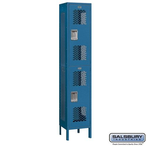 Extra Wide Vented Metal Locker - Double Tier - 1 Wide - 6 Feet High - 15 Inches Deep - Choose Color