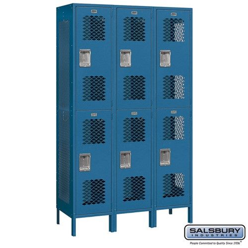 Extra Wide Vented Metal Locker - Double Tier - 3 Wide - 6 Feet High - 18 Inches Deep - Choose Color