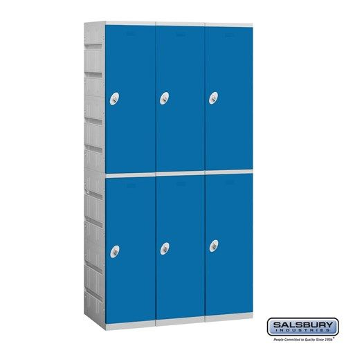Plastic Locker - Double Tier - 3 Wide - 73 Inches High - 18 Inches Deep - Choose Color