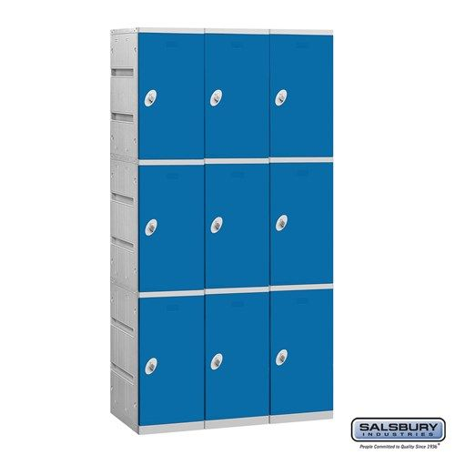 Plastic Locker - Triple Tier - 3 Wide - 73 Inches High - 18 Inches Deep - Choose Color