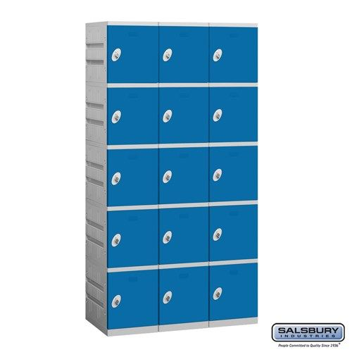 Plastic Locker - Five Tier - 3 Wide - 73 Inches High - 18 Inches Deep - Choose Color