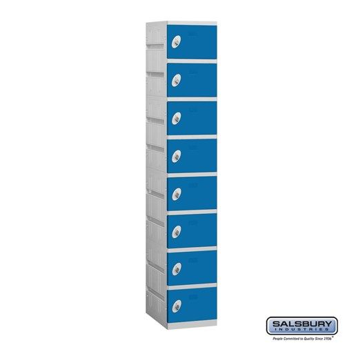 Plastic Locker - Eight Tier - 1 Wide - 73 Inches High - 18 Inches Deep - Choose Color