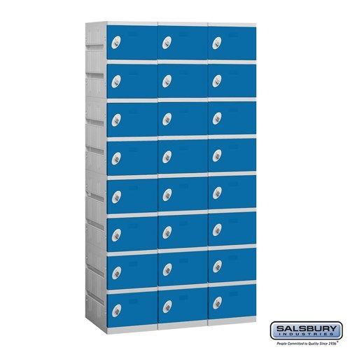 Plastic Locker - Eight Tier - 3 Wide - 73 Inches High - 18 Inches Deep - Choose Color