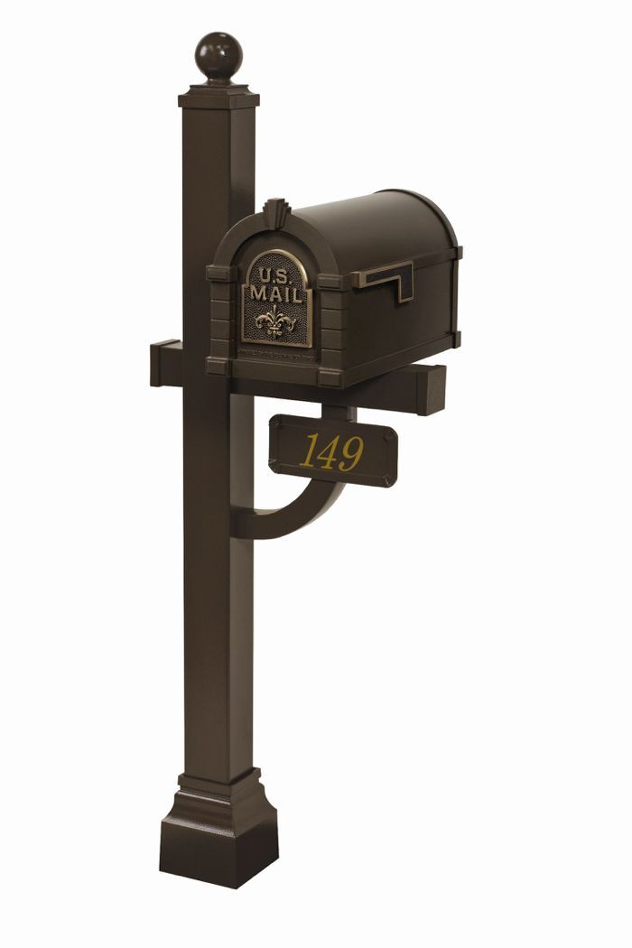 Fleur de Lis Keystone Series Deluxe Mailbox and Post Package - Fully Configurable