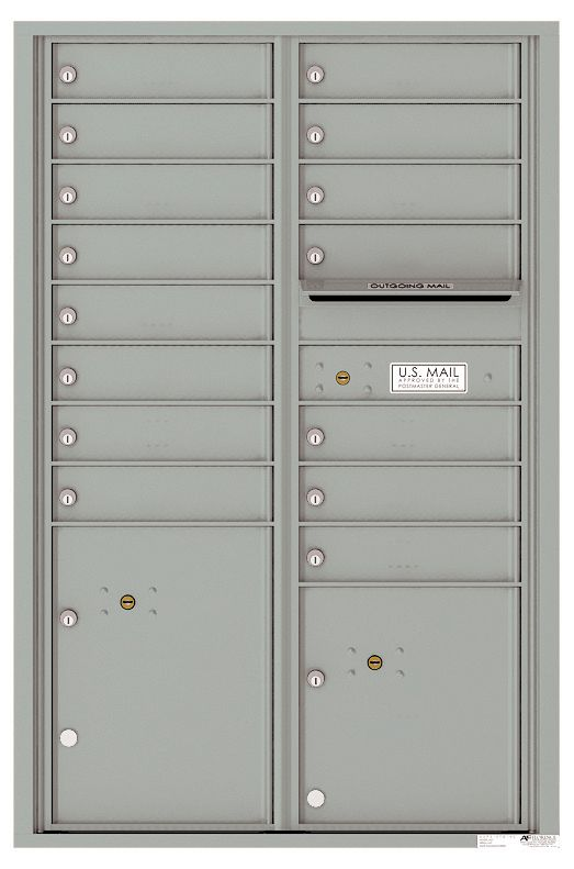 Versatile Front Loading Commercial Mailbox with 15 Tenant Compartments and 2 Parcel Lockers - Double Column