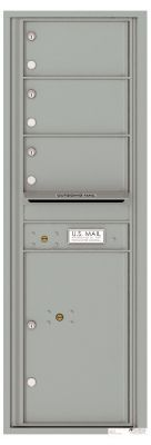 Front Loading Commercial Mailbox with 3 Tenant Doors and 1 Parcel Locker - Single Column