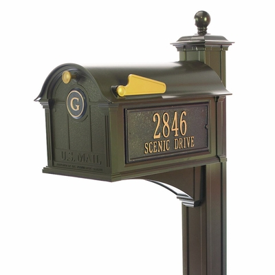 Small whitehall balmoral streetside monogram mailbox post package bronze