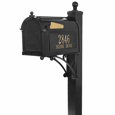 Whitehall deluxe mailbox package in black
