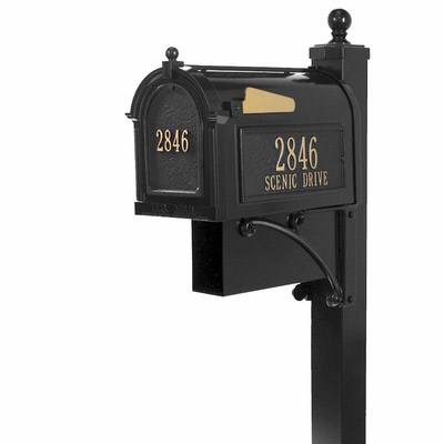 Small whitehall estate streetside mailbox package in black