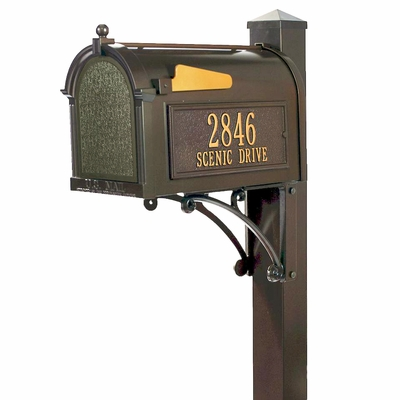 Small whitehall superior bronze mailbox package