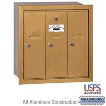 3 Door Vertical Mailbox Gold - Recessed Mount
