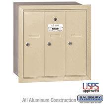 3 Door Vertical Mailbox Sandstone - Recessed Mount