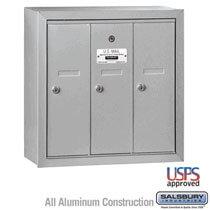 3 Door Vertical Mailbox Gray - Surface Mount